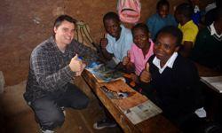 CSU student Mr Matthew Lincoln meeting with Kenyan high school students