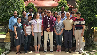 Dr Nicola Wunderlichwith workshop participants at CARDI, Phnom Penh, Cambodia.