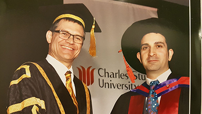 CSU Vice-Chancellor Professor Andrew Vann and Dr Rocco Longo