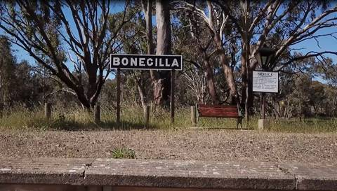 Signage at Bonegilla railway stop