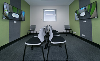 Telehealth facilities including chairs and monitors