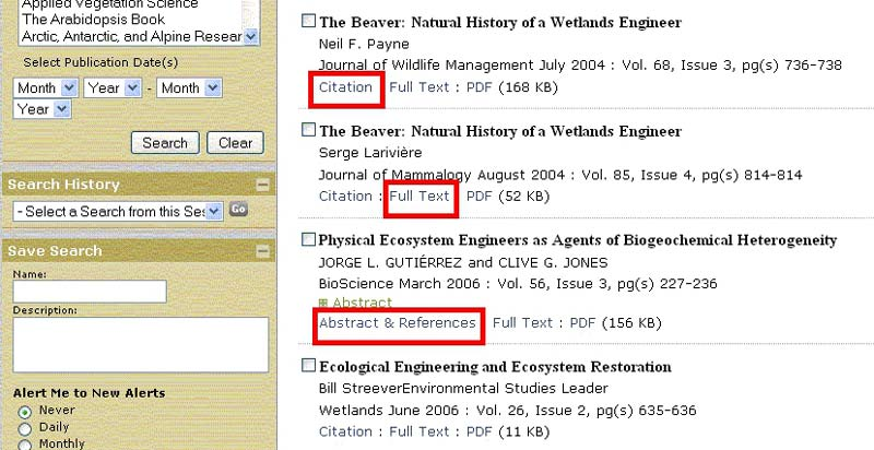 screen sample of the BioOne website with 'Citation', 'Full Text' and 'Abstract & References' links highlighted