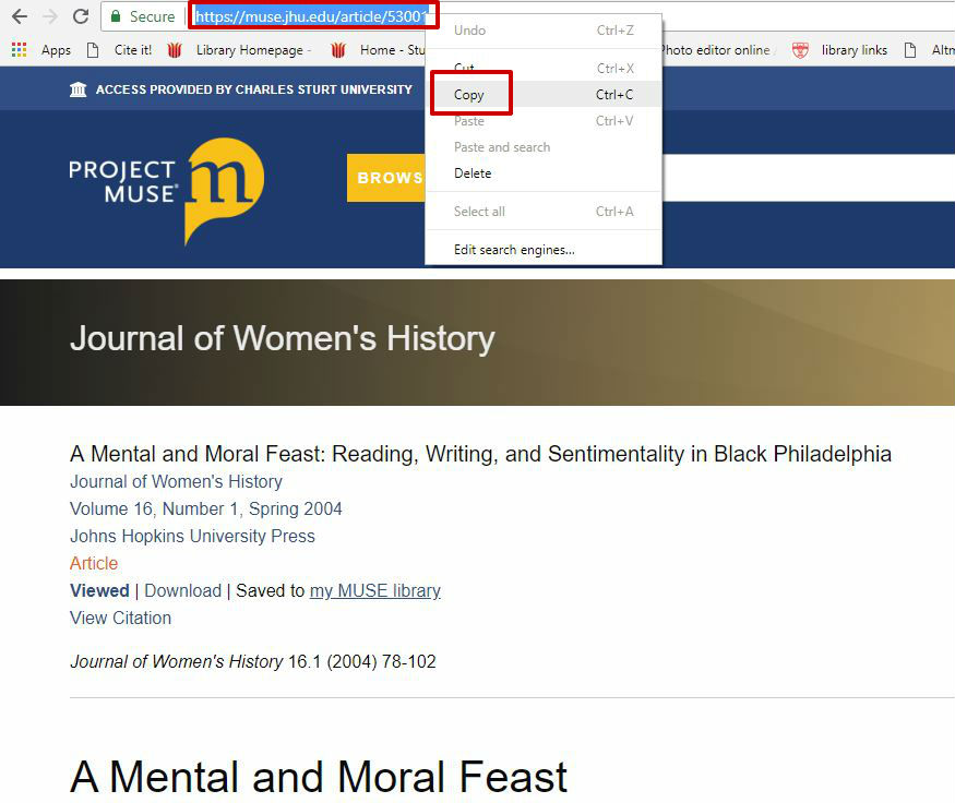 screen sample of the Project Muse website with the URL highlighted in the address bar