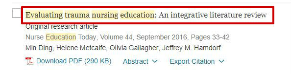 screen sample of the ScienceDirect website with the article title highlighted