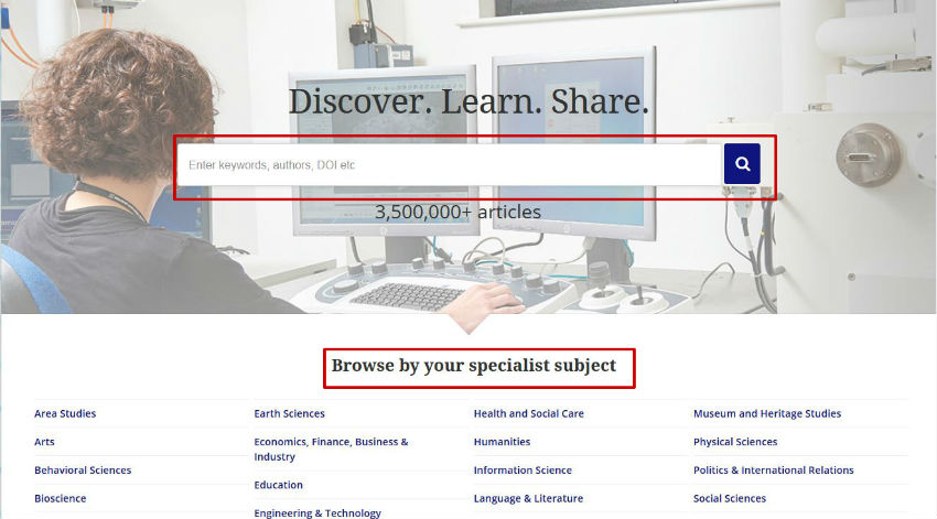 screen sample of the Taylor & Francis website with the 'Browse' tab highlighted
