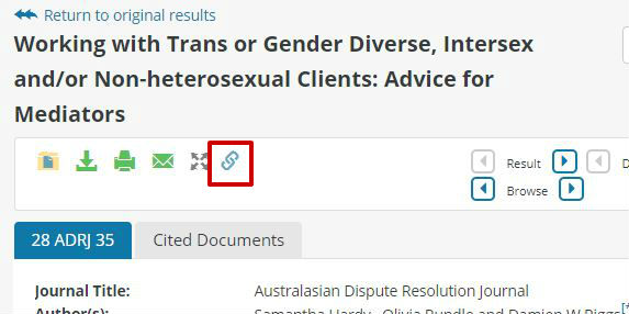 screen sample of the Westlaw website with the link icon highlighted