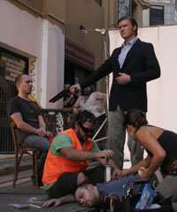 Writer/actor Mr Phil Lloyd on the set of a segment of the AWGIE award-winning TV comedy 'Review with Myles Barlow'