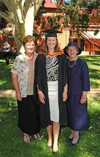 From left: Mrs Rita Bowler, Miss Katherine Bowler and her grandmother Mrs Janet Kemp at the CSU graduation on Wednesday 14 December.