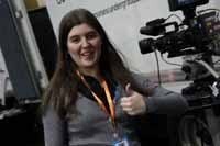 Television production student Ms Teagan Bartholomew at the SMPTE Australia 2013 in Sydney.