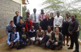 Photo of the Global Voices delegation meeting with students from the Jomo Kenyatta University of Agriculture and Technology (JKUAT)