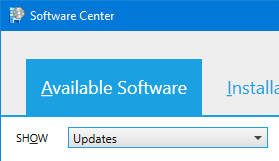 Screenshot showing the Available Software tab in the Software Center with Updates selected from the SHOW dropdown menu
