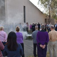 Ngunnawal Elder Tina Brown gave the Welcome to Country and performed the Smoking Ceremony at the Welcome Reception. Photograph by Sarah Stitt