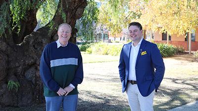 Professor Jim Pratley and Joshua Gilbert