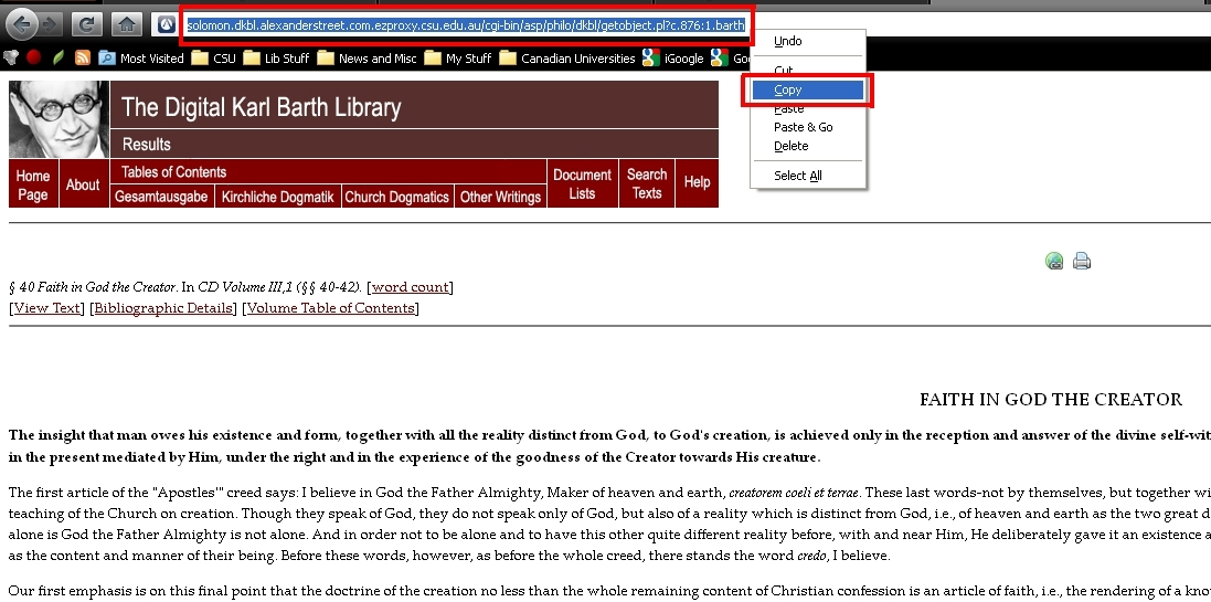 screen sample of the Digital Karl Barth Library website with the address bar URL highlighted