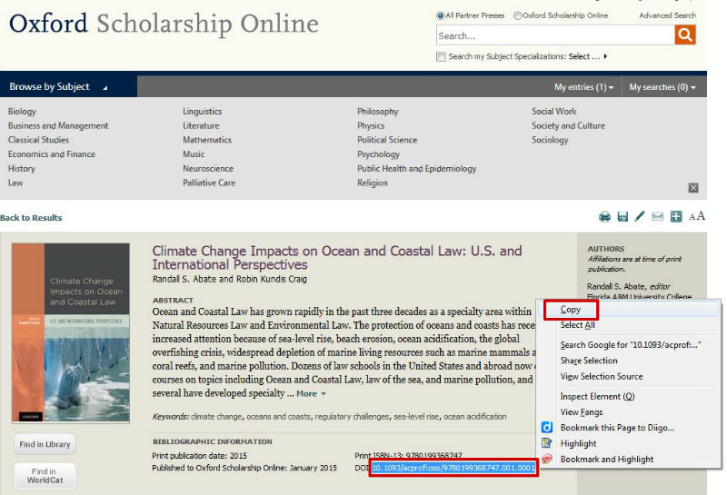 screen sample of the Oxford website with the 'DOI' highlighted