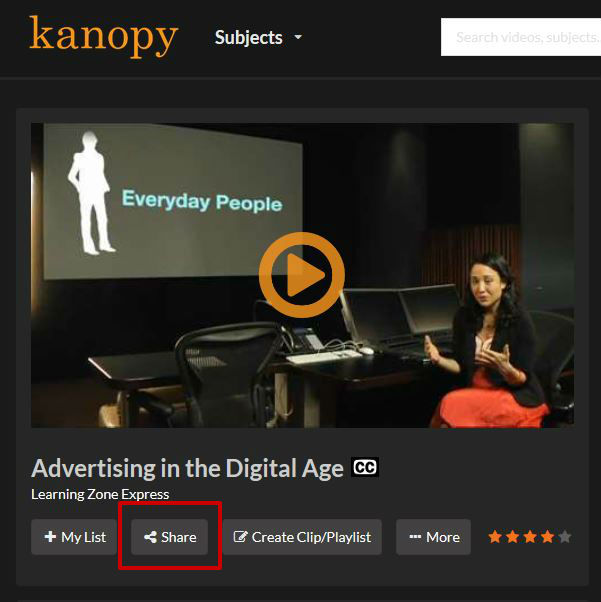 screen sample of the Kanopy website with the