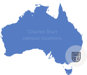 Map of Australia showing Charles Sturt campuses in NSW