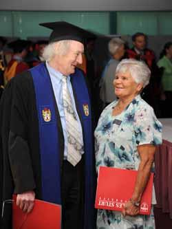 Retiring Professor David Green, Head of Campus, Wagga Wagga with Wiradjuri Elder Mrs Isobel Reid.