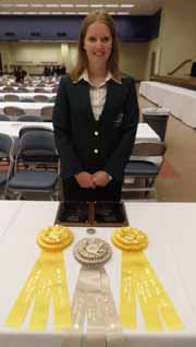 CSU student Ms Vanessa Campbell with her medals from the meat judging competition in the USA in early 2013.