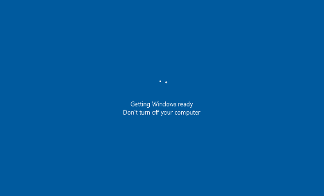"""Screenshot of the message that appears advising """"Getting windows ready. Don't turn off your computer"""""""