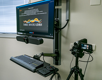 A computer and camera setup for telehealth