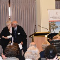 """Rt Rev Professor Stepehn Pickard thanks Professor Elizabeth MacKinlay at the end of her keynote address titled """"Ageing and frailty: a spiritual perspective of the lived experience"""". Photograph by Sarah Stitt"""