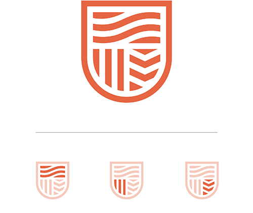 The new Charles Sturt crest is sheild shaped and depicts stylised rivers in the top half, vertical lines in the bottom quarter for the field, and chevrons in the bottom right for books.