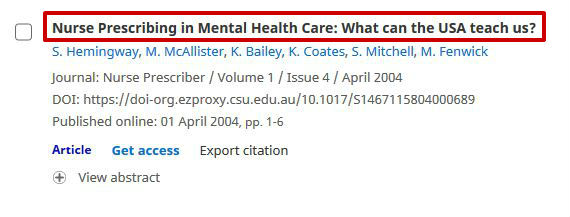 screen sample of the Cambridge Journals website with the 'Abstract' link highlighted