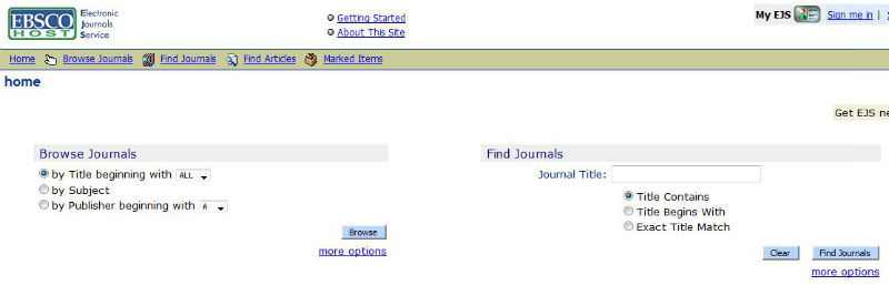 screen smaple of the EBSCO website search page