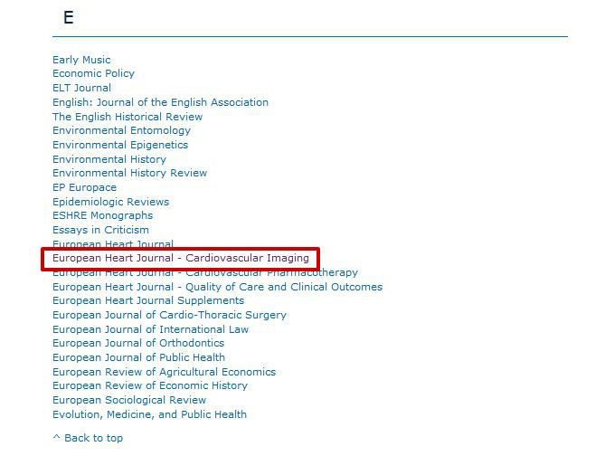 screen sample of the Oxford Journal database with the journal title in alphabetical list highlighted
