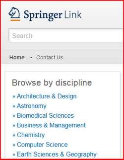 screen sample of the SpringerLink website