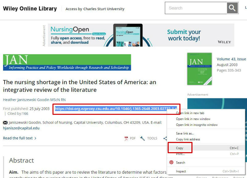 screen sample of the Wiley website with the 'DOI' highlighted