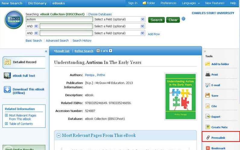 screen sample of the EBSCOhost website with the 'permalink' option highlighted