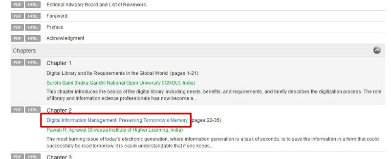 screen sample of the IGI website with a chapter title highlighted