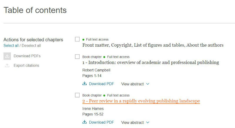 screen sample of the ScienceDirect website with a chapter title highlighted