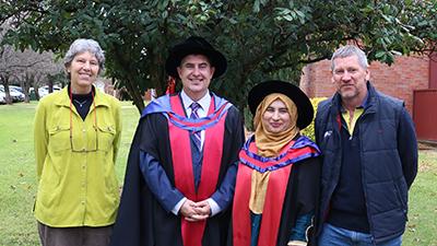 Denise Pleming NSW DPI, Professor Chris Blanchard Charles Sturt University, PhD graduate Dr Annie Riaz, and Dr Russell Eastwood AGT