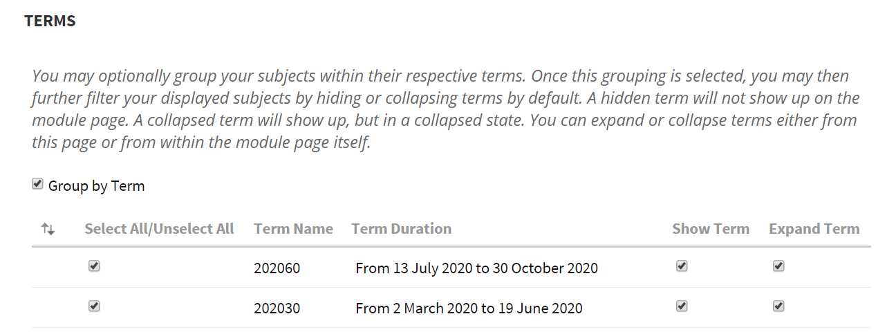 202060 Term Selected