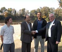 Left to right: Declan Hearne, Catholic Relief Services, Philippines, Zahid Hussain, Oxfam, Pakistan, Professor Shahbaz Khan, CSU, and Wagga Wagga Mayor Kerry Pascoe.