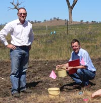 Ian Cole (left) with Associate Professor Ian Lunt at the Bowna trial site