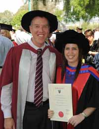 Dr Amy MacDonald with her supervisor Professor Tom Lowrie at her graduation ceremony at CSU in Wagga Wagga in December 2011.