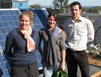 CSU Green Co-ordinator Partnerships Ms Nicola Smith, student garden co-ordinator Ms Gemma Hawkins and Acting Manager CSU Green Mr Edward Maher with the new solar panels