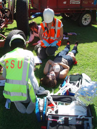 CSU paramedic students in a simulation exercise