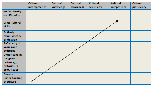 Graph with Cultural Incompetence through to Cultural Proficiency on the x axis and Generic understanding up to Professionally specific skills on the y axis
