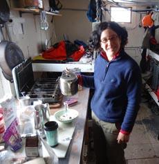 Dr Melanie Massaro in research hut. Courtesy A. Matthews
