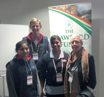 PhD students Ms Shumalia Arif, Mr Thomas Williams and Ms Shiwangni Rao with their mentor Professor Deirdre Lemerle at the 2016 Crawford Fund Conference, Canberra, ACT.