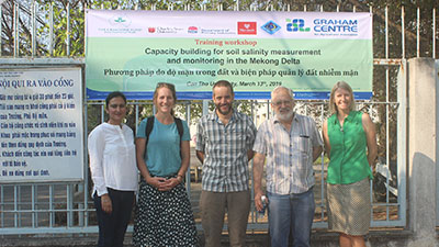 The team in Vietnam:Dr Rajneet Uppal,  Brooke Kaveney, Jason Condon, Associate Professor Ed Barrett-Lennard and Dr Susan Orgill