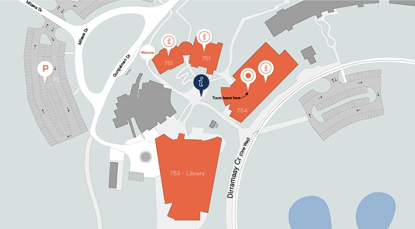 Map of open day locations on Albury-Wodonga Campus