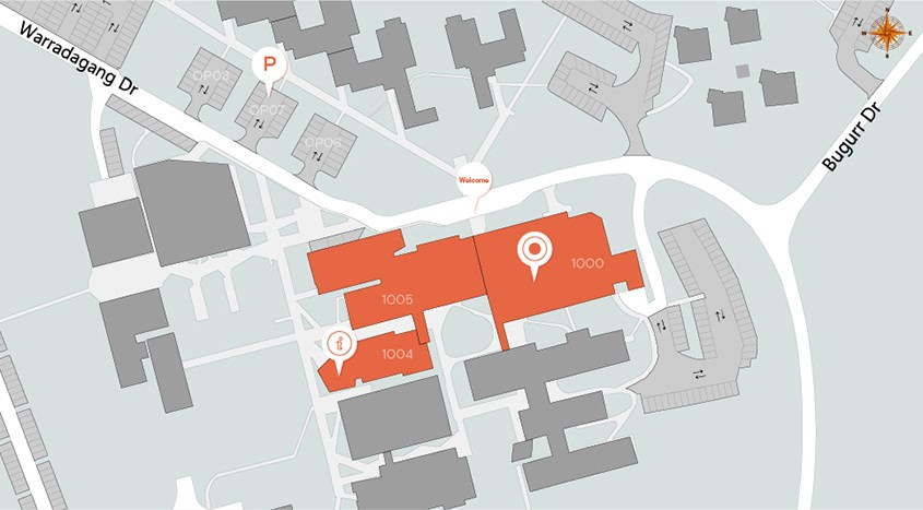 Map of open day locations on Orange Campus