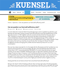 Kuensel - Can we question our food self sufficiency wish?