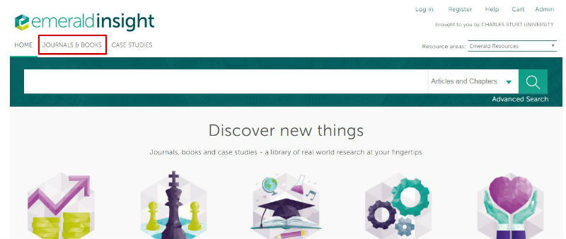 screen scample of the Emerald website 'journal' and 'only content I have access to' selected under the 'Journals & Books' menu item